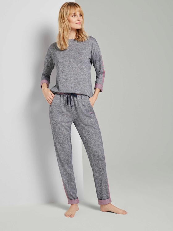 Pyjama Sweathose - Frauen - dark blue melange - 3 - TOM TAILOR