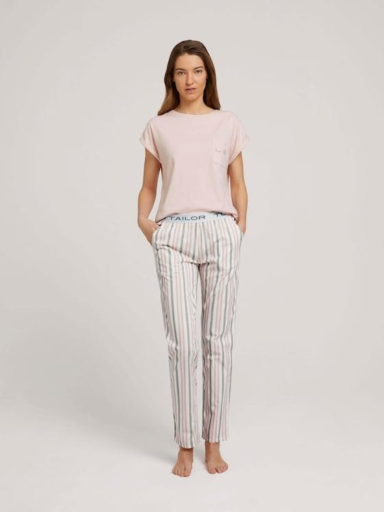Lange Pyjamahose mit Streifen - Frauen - white stripes - 3 - TOM TAILOR