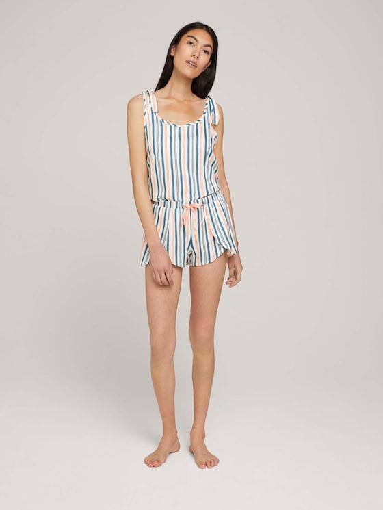 Pyjama Shorts in Wickeloptik - Frauen - dark white stripes - 3 - TOM TAILOR