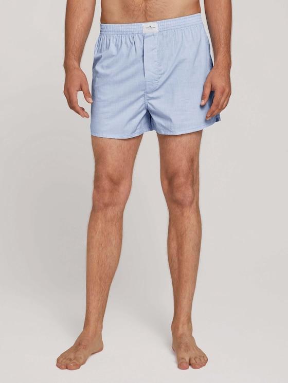 woven boxer shorts 2pcs pack - Men - blue-light-check - 1 - TOM TAILOR