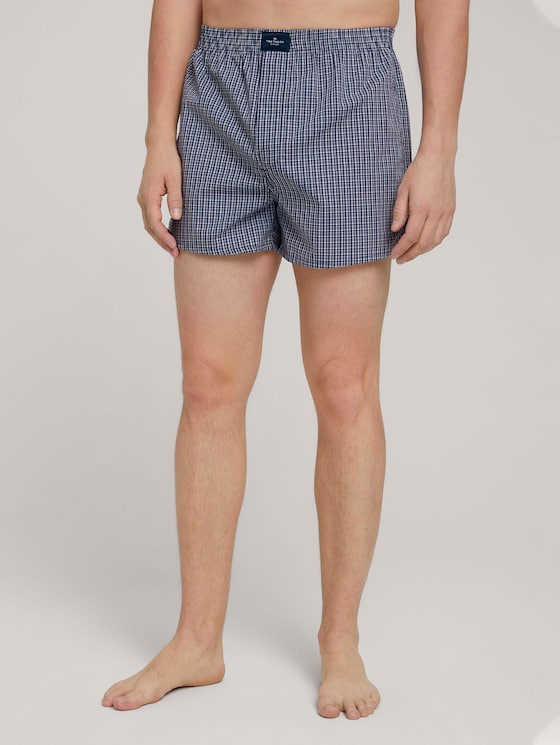 dubbelpak Boxer Shorts - Mannen - blue-dark-check - 1 - TOM TAILOR