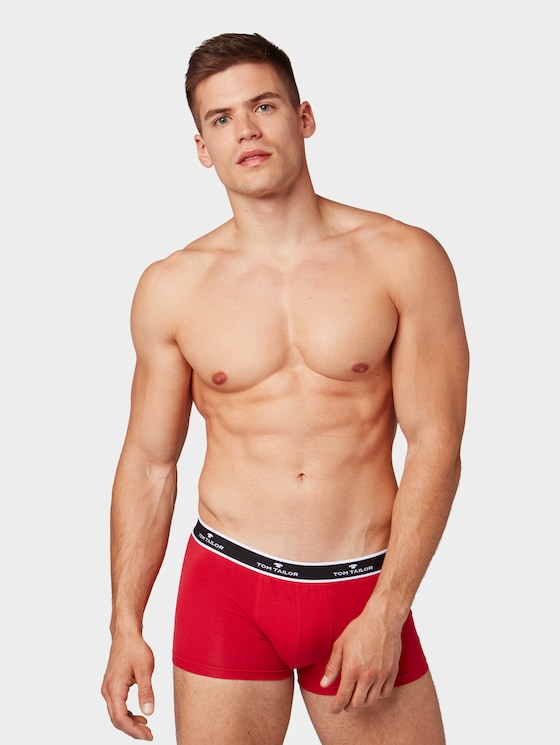Boxer shorts in a twin pack - Men - red-medium-solid - 1 - TOM TAILOR