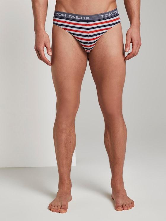 Gestreifter Slip - Männer - red-medium-horizontal stripe - 1 - TOM TAILOR