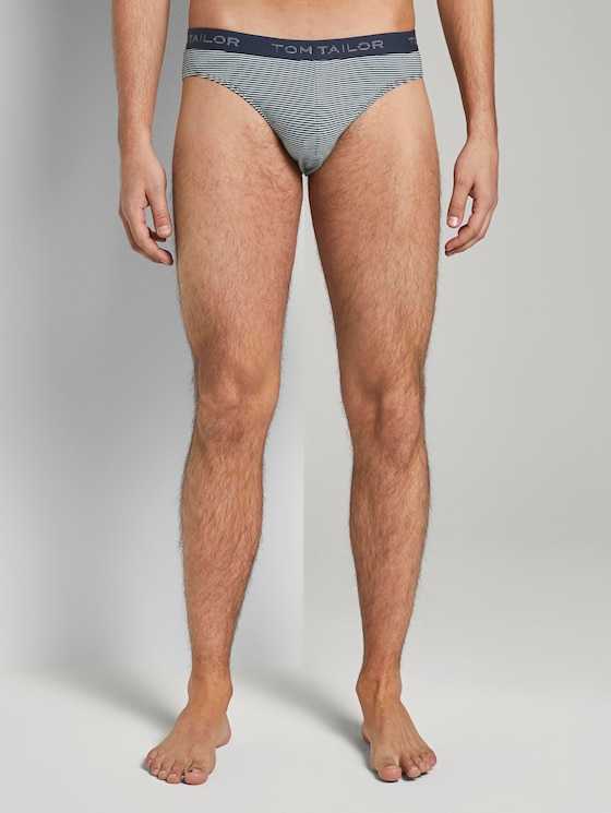 Striped briefs with logo embroidery on the waistband - Men - blue-light-stripes - 1 - TOM TAILOR