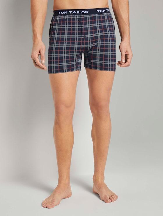 Jersey Geruit Boxer Shorts - Mannen - blue-dark-allover - 1 - TOM TAILOR