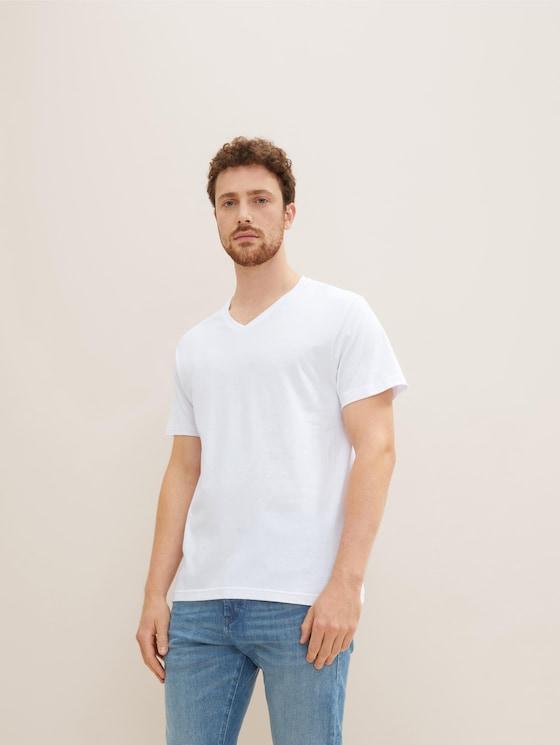 Basic T-Shirts im Doppelpack - Männer - white-light-solid - 5 - TOM TAILOR