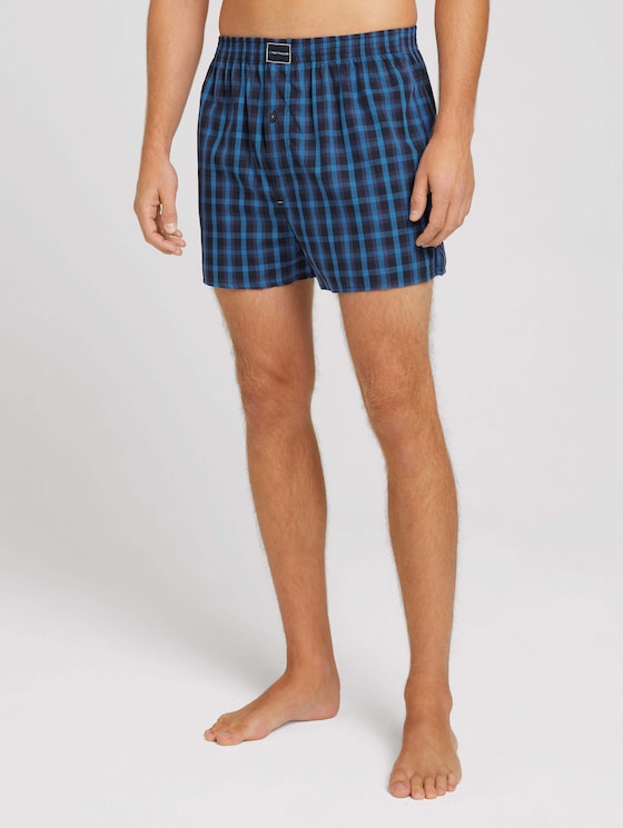 Checked boxer shorts in a twin pack  - Men - blue-dark-check - 1 - TOM TAILOR