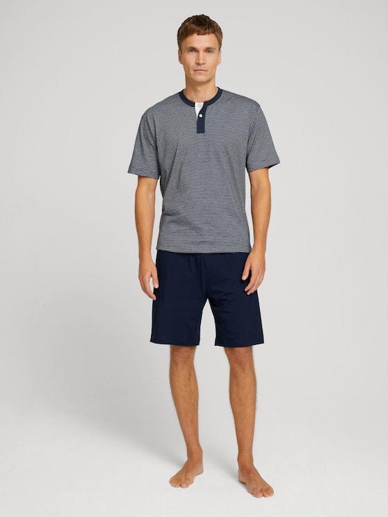 pyjama met geruite broek - Mannen - blue-dark-horizontal stripe - 3 - TOM TAILOR