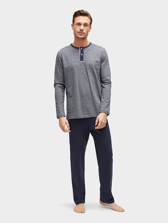 Pyjama mit gestreiftem Oberteil - Männer - blue-dark-horizontal strip - 1 - TOM TAILOR