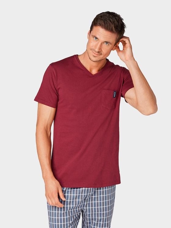 Pyjama T-Shirt - Männer - red-medium-solid - 1 - TOM TAILOR