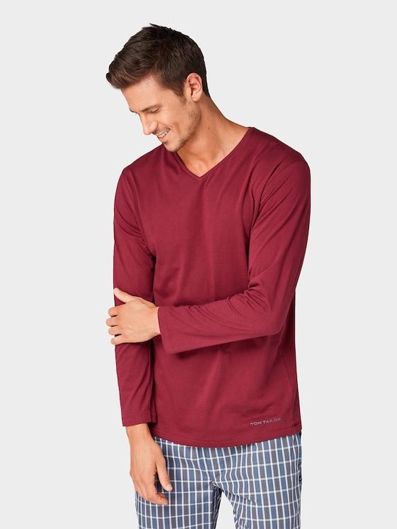 Long sleeve pyjama top - Men - red-dark-solid - 1 - TOM TAILOR