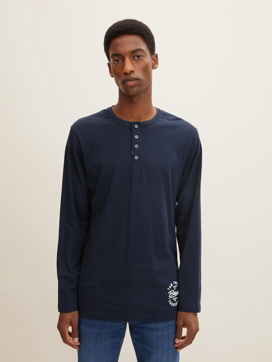 Long sleeve pyjama top - Men - blue-dark-solid - 1 - TOM TAILOR