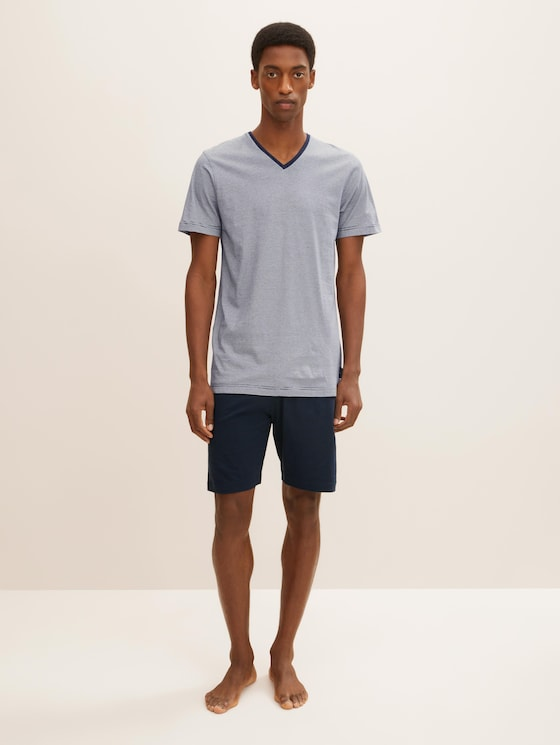 Shorty Pyjama - Mannen - blue-dark-horizontal stripe - 1 - TOM TAILOR