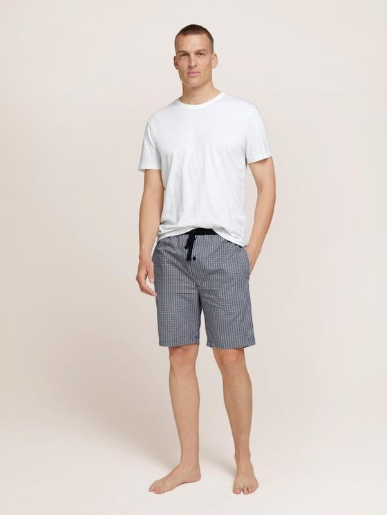 Pyjama shorts - Men - blue-medium-check - 3 - TOM TAILOR
