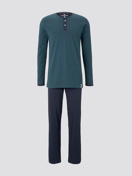 Pyjama mit gestreiftem Shirt - Männer - blue-dark-horizontal stripe - 7 - TOM TAILOR