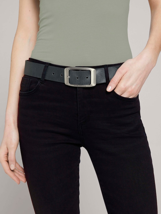 Klassischer Ledergürtel - Frauen - grey uni - 5 - TOM TAILOR