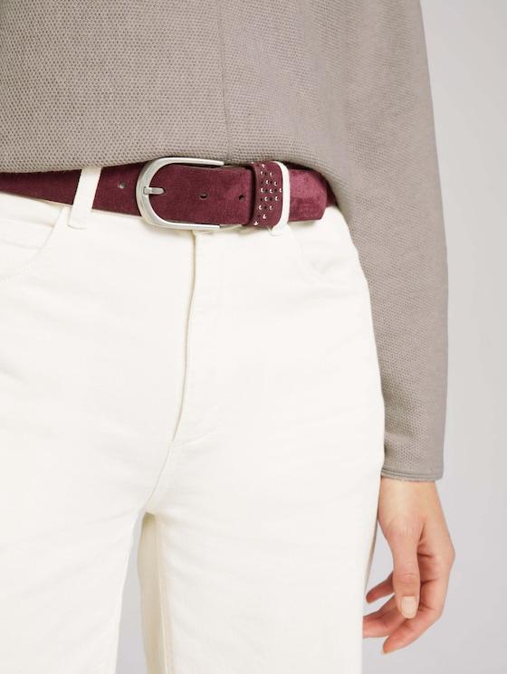 Suede belt with studs - Women - bordeaux uni - 5 - TOM TAILOR