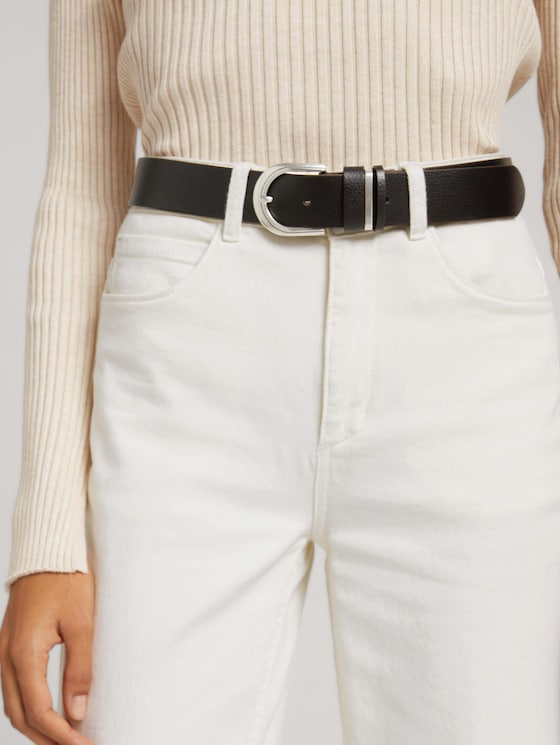 Textured leather belt - Women - brown uni - 5 - TOM TAILOR
