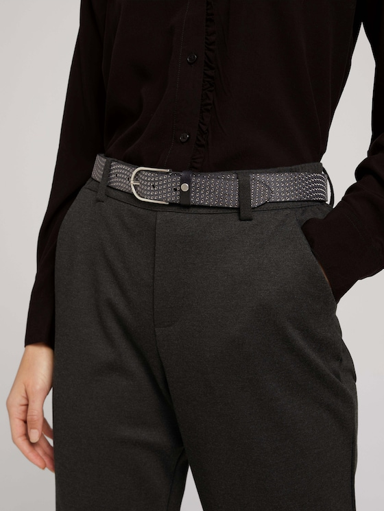 Metallic leather belt - Women - black uni - 5 - TOM TAILOR