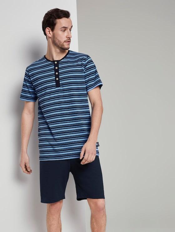 Pyjama mit gestreiftem T-Shirt - Männer - blue-dark-horizontal stripe - 3 - TOM TAILOR