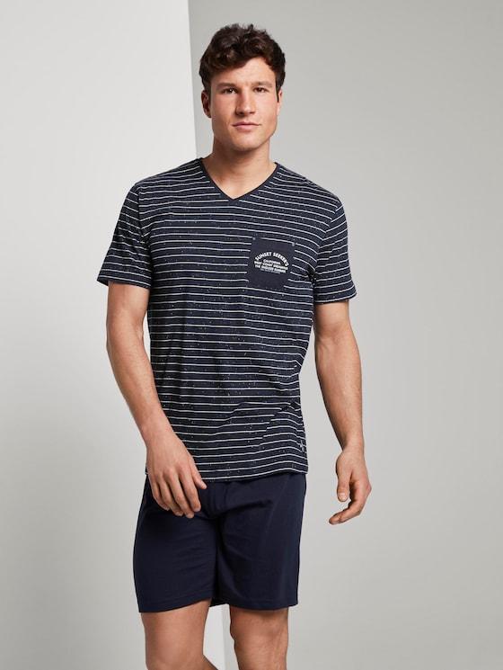 Gestreifter Pyjama - Männer - blue-dark-horizontal stripe - 3 - TOM TAILOR