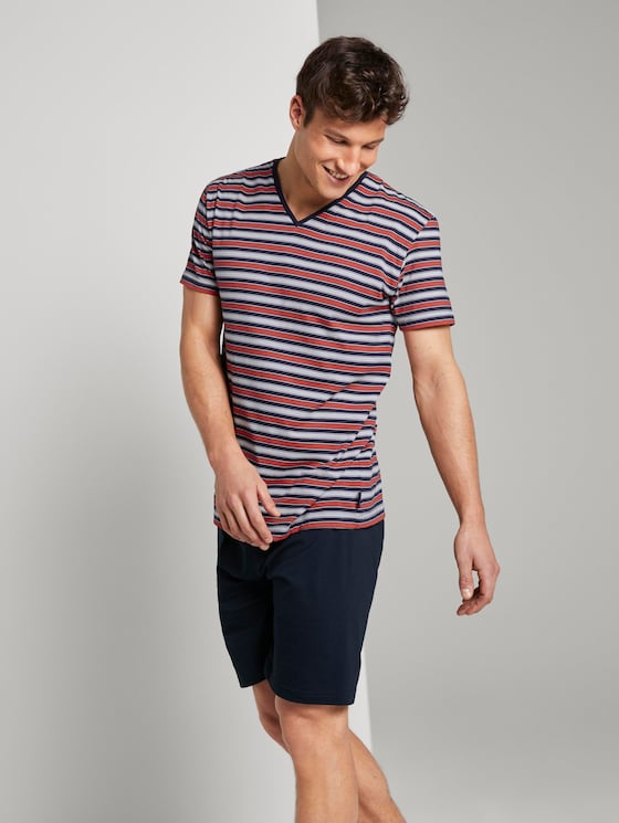 Gestreifter Pyjama - Männer - red-medium-horizontal stripe - 3 - TOM TAILOR
