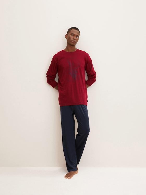 Langes Pyjama Set mit Print - Männer - red-dark-solid - 3 - TOM TAILOR