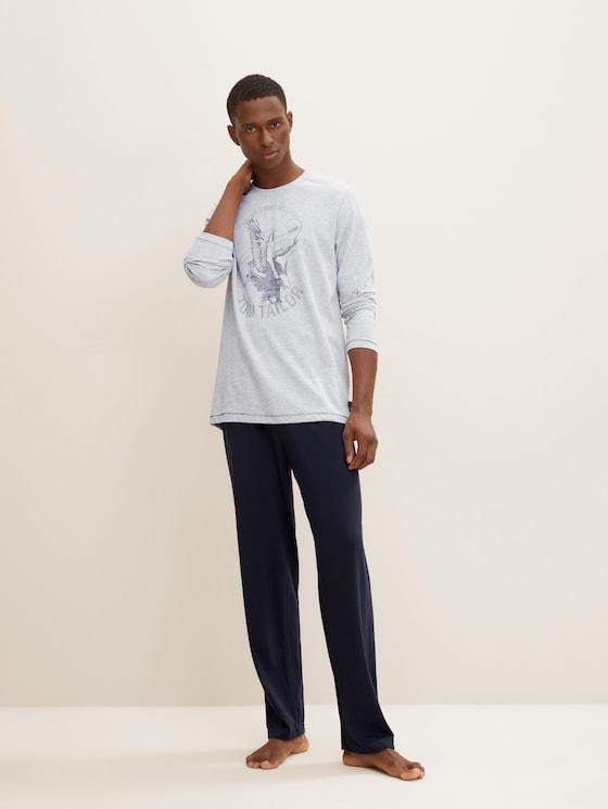 Lange pyjama Set met print - Mannen - grey-medium-melange - 3 - TOM TAILOR