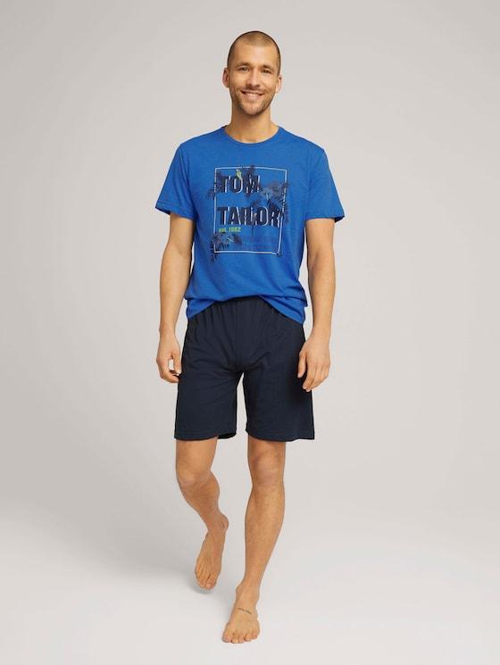 Print Pyjama-Set mit Shorts - Männer - blue-medium-melange - 3 - TOM TAILOR