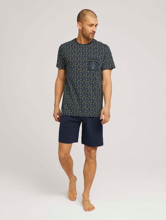Palmen Print Pyjama-Set - Männer - blue-dark-allover - 3 - TOM TAILOR