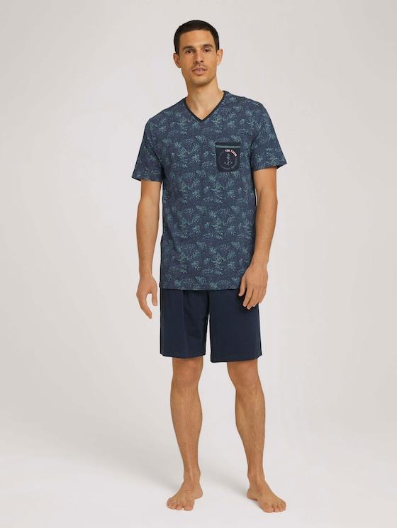 Pyjama-Set mit Print - Männer - blue-dark-allover - 3 - TOM TAILOR