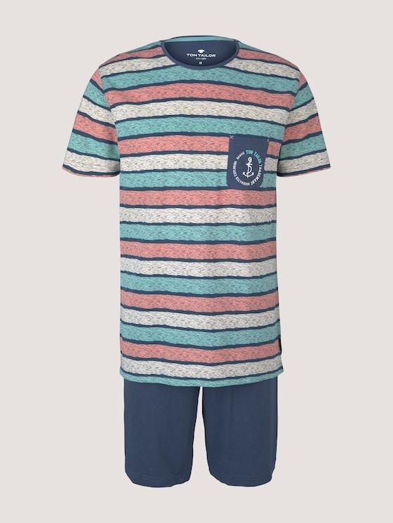 Gestreiftes Pyjama-Set mit Shorts - Männer - blue-medium-allover - 7 - TOM TAILOR