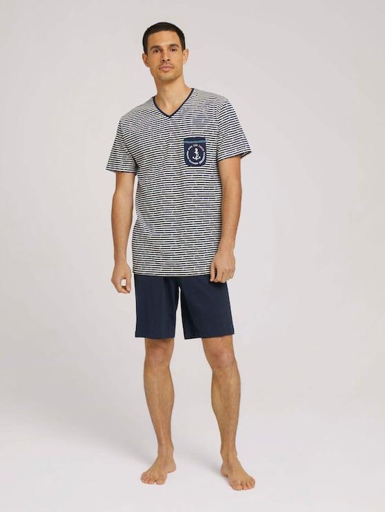 Maritimes Pyjama-Set - Männer - white-light-allover - 3 - TOM TAILOR