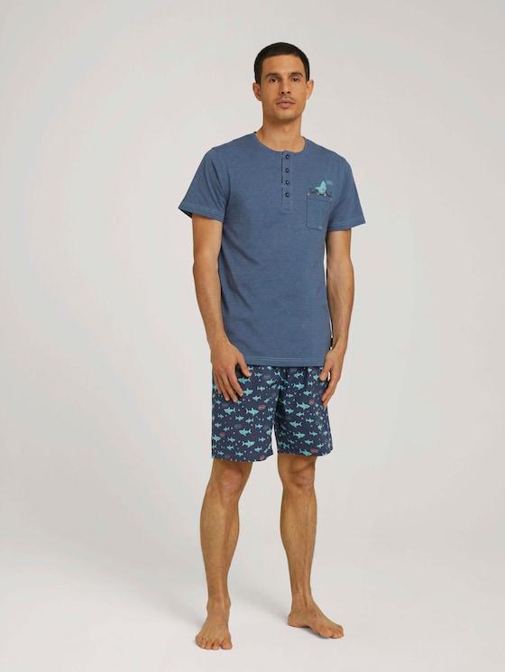Gemustertes Pyjama-Set mit Knopfleiste - Männer - blue-medium-melange - 3 - TOM TAILOR