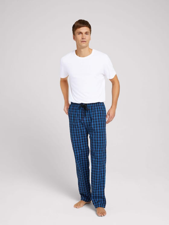 Long pyjama trousers with a checked pattern - Men - blue-dark-check - 3 - TOM TAILOR