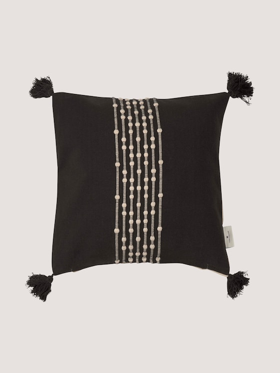 cushion cover with knotting and tassels - unisex - black - 7 - TOM TAILOR
