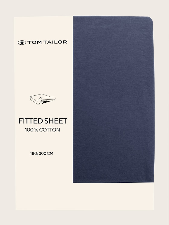 Fitted bed sheet made of jersey - unisex - indigo / D - 7 - TOM TAILOR