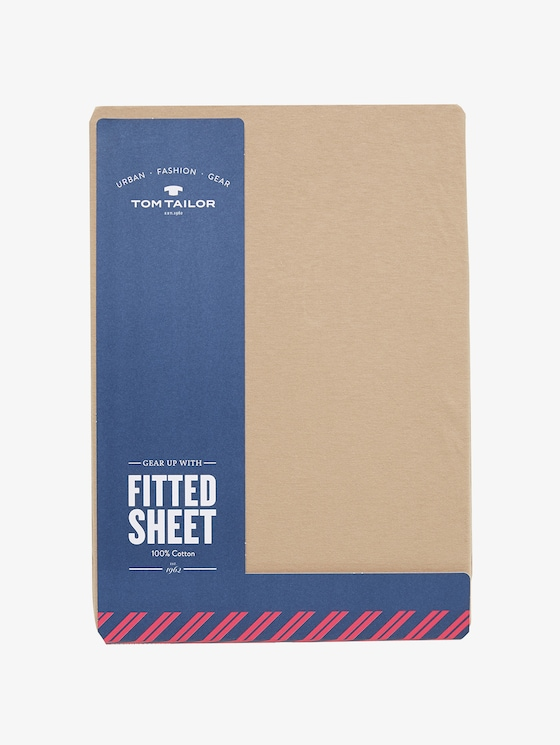 Fitted bed sheet made of jersey - unisex - sand / sand - 1 - TOM TAILOR