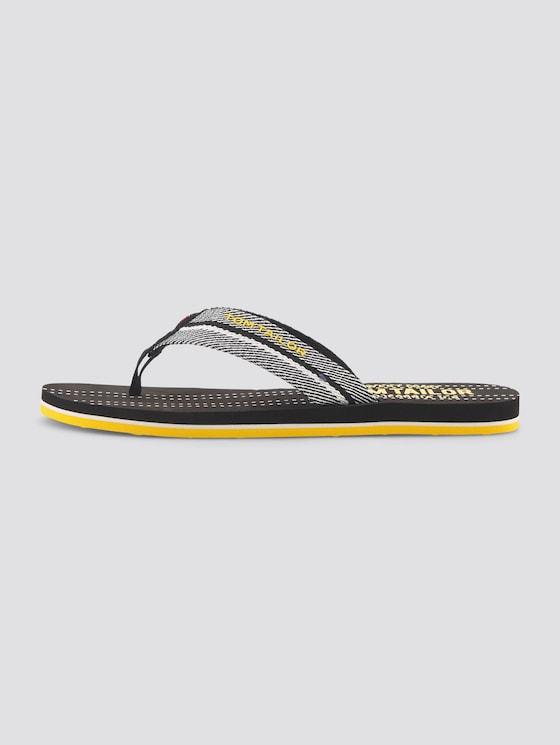 Sporty flip-flops - unisex - black-white-yellow - 1 - TOM TAILOR