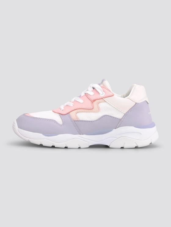 Sneaker in Pastellfarben - unisex - white-viola-rose - 1 - TOM TAILOR