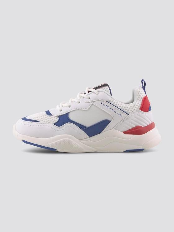 Sportlicher Sneaker mit reflektierenden Details - unisex - white-blue-red - 7 - TOM TAILOR