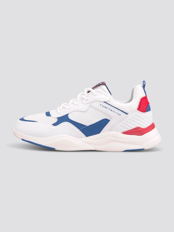Sporty sneakers with reflective details - unisex - white-blue-red - 1 - TOM TAILOR