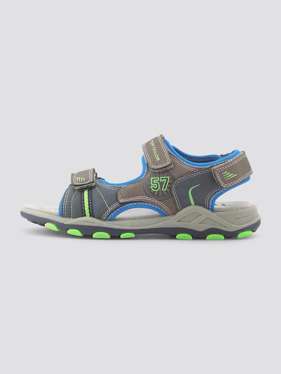 Sandals with velcro - unisex - grey-navy-royal-lime - 1 - TOM TAILOR