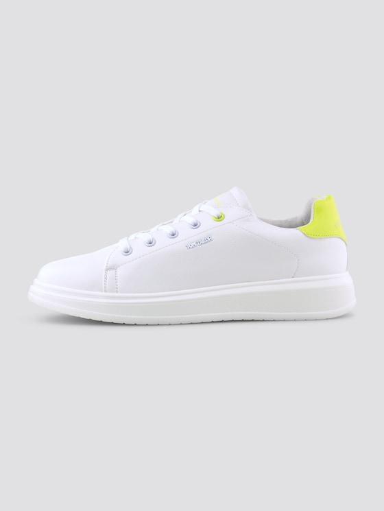 Sneaker in Lederoptik - unisex - white-neon-yellow - 1 - TOM TAILOR