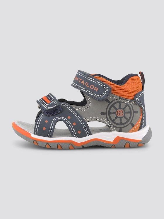 Sandalen mit Klettverschluss - unisex - navy-grey-neon orange - 7 - TOM TAILOR