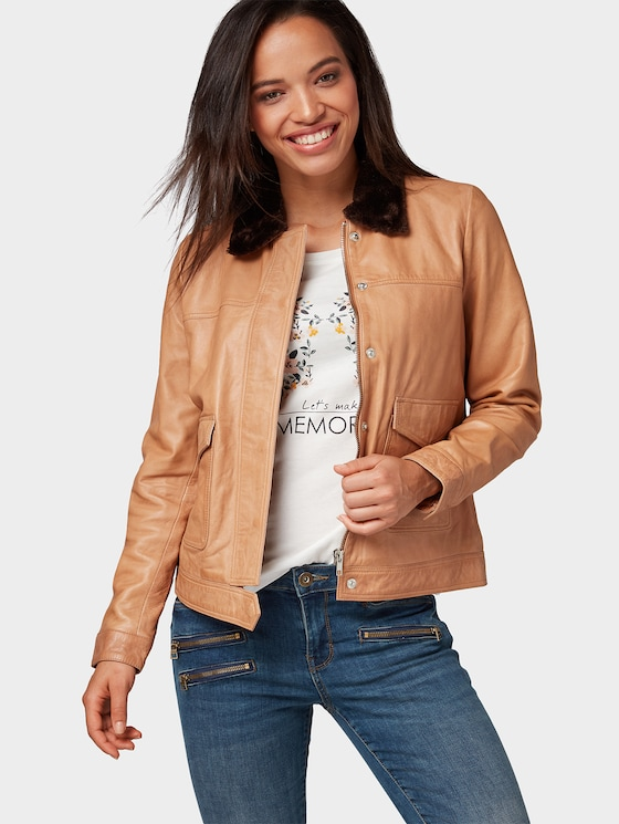 Pilotenjack van leer - Vrouwen - light camel - 5 - TOM TAILOR