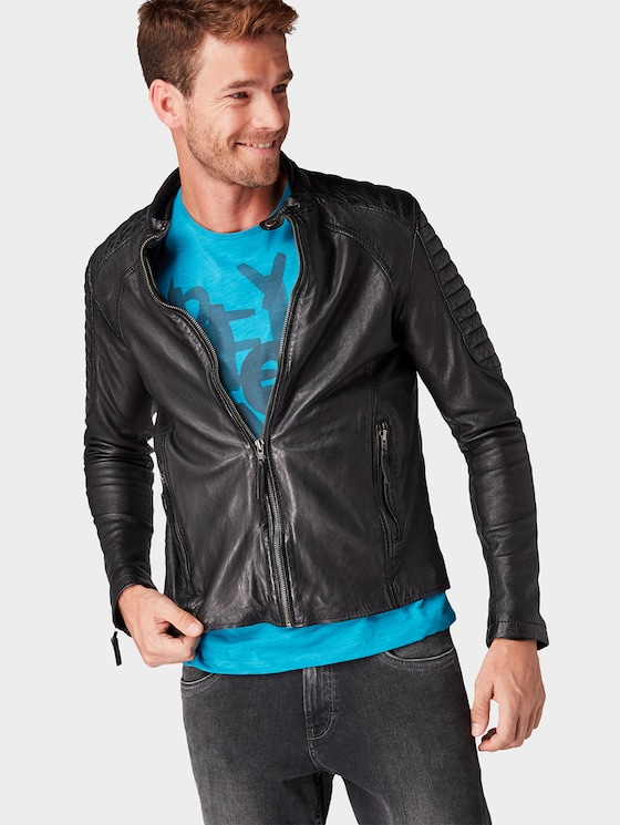 Leather jacket with partial quilting - Men - black - 5 - TOM TAILOR