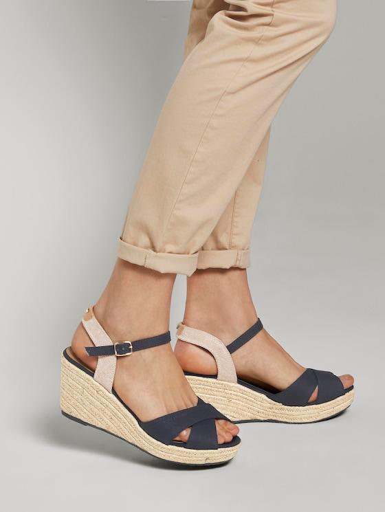 Sandalette mit Keilabsatz - Frauen - navy - 5 - TOM TAILOR