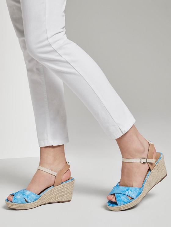 Sandalette mit Keilabsatz aus Wildlederimitat - Frauen - royal - 5 - TOM TAILOR