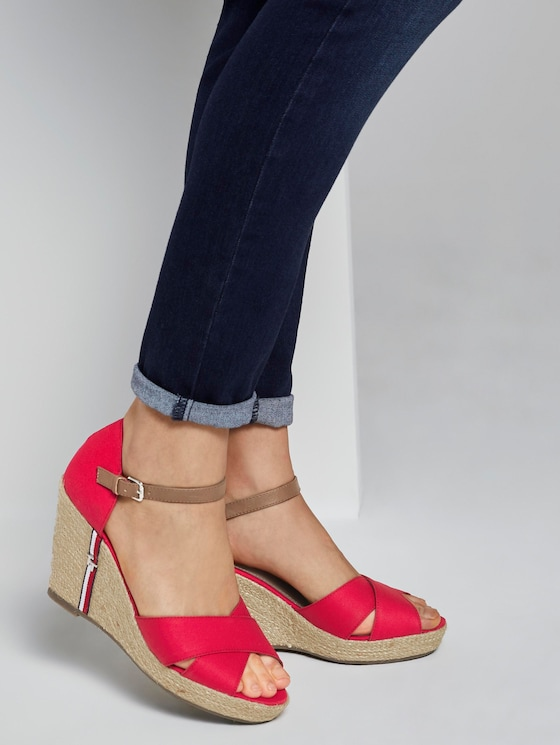 Sandalette mit Keilabsatz und Lederdetails - Frauen - red - 5 - TOM TAILOR